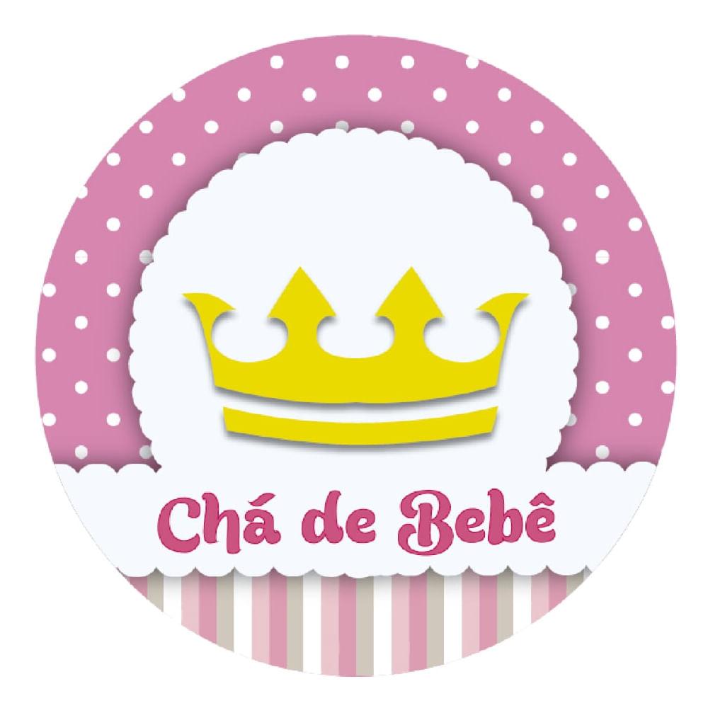 Feira Artesanal Vila Do Conde ~ Adesivo p Lembrancinha Redondo Chá de Beb u00ea Coroa Rosa 10 unidades Lojas Brilhante
