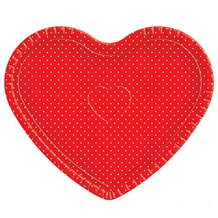 3e2b7d9cb Bandeja Coração Vermelha poá Branco - 30cm x 35cm - Unidade - Lojas  Brilhante