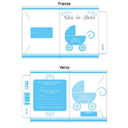Convite Chá De Bebê Carrinho Azul 10 Unidades Lojas Brilhante