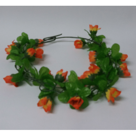 coroa-de-flores-tecido-laranja-lojas-brilhante