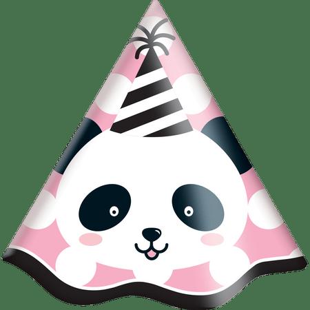 chapeu-de-aniversario-panda-festcolor-8-unidades