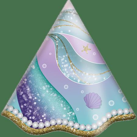 chapeu-de-aniversario-sereia-festcolor-8-unidades