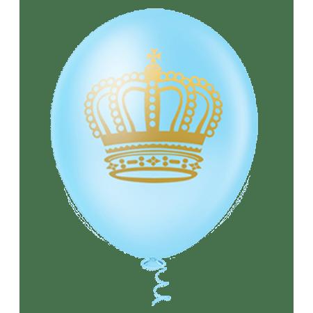 balao-pic-pic-n10-coroa-azul-claro-dourado-25-unidades